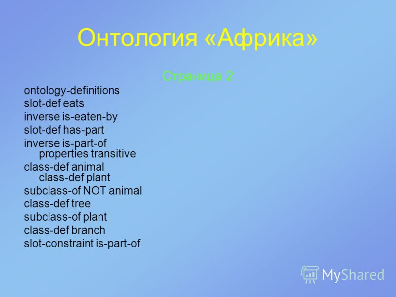 Онтология «Африка» Страница 2 ontology-definitions slot-def eats inverse is-eaten-by slot-def has-part inverse is-part-of properties transitive class-def animal class-def plant subclass-of NOT animal class-def tree subclass-of plant class-def branch