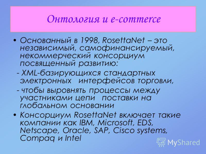 Онтология и e-commerce Основанный в 1998, RosettaNet – это независимый, самофинансируемый, некоммерческий консорциум посвященный развитию: - XML-базирующихся стандартных электронных интерфейсов торговли, - чтобы выровнять процессы между участниками ц