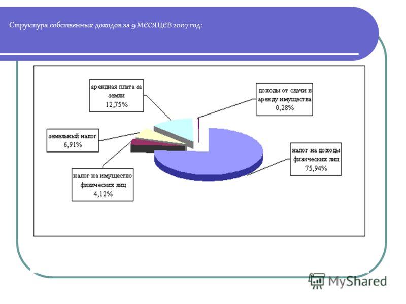 Структура собственных доходов за 9 месяцев 2007 год: