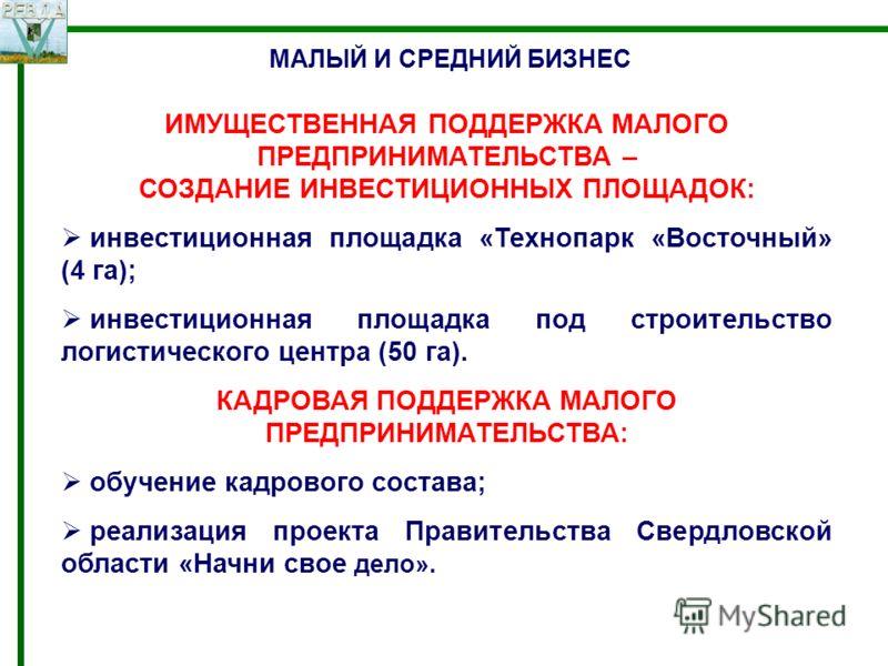 МАЛЫЙ И СРЕДНИЙ БИЗНЕС ИМУЩЕСТВЕННАЯ ПОДДЕРЖКА МАЛОГО ПРЕДПРИНИМАТЕЛЬСТВА – СОЗДАНИЕ ИНВЕСТИЦИОННЫХ ПЛОЩАДОК: инвестиционная площадка «Технопарк «Восточный» (4 га); инвестиционная площадка под строительство логистического центра (50 га). КАДРОВАЯ ПОД