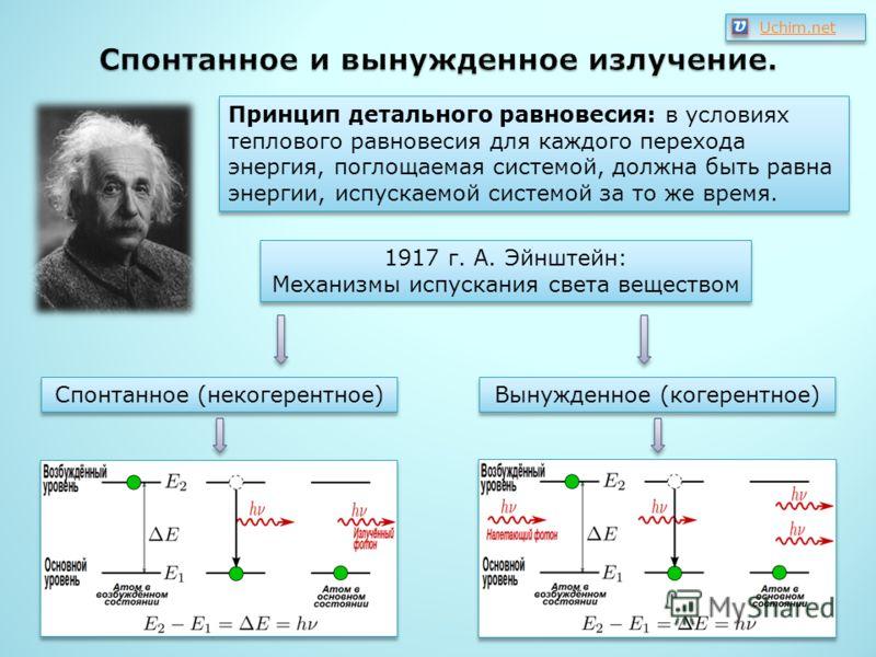 Принцип детального равновесия: в условиях теплового равновесия для каждого перехода энергия, поглощаемая системой, должна быть равна энергии, испускаемой системой за то же время. 1917 г. А. Эйнштейн: Механизмы испускания света веществом 1917 г. А. Эй