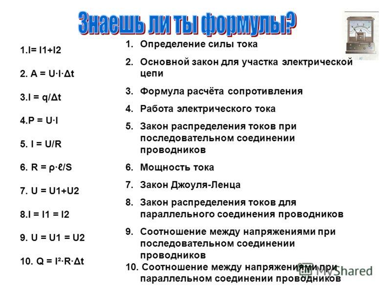 1.I= I1+I2 2. A = U·I·Δt 3.I = q/Δt 4.P = U·I 5. I = U/R 6. R = ρ·/S 7. U = U1+U2 8.I = I1 = I2 9. U = U1 = U2 10. Q = I²·R·Δt 1.Определение силы тока 2.Основной закон для участка электрической цепи 3.Формула расчёта сопротивления 4.Работа электричес