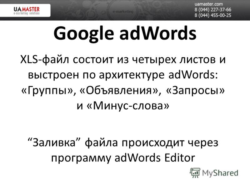Google adWords XLS-файл состоит из четырех листов и выстроен по архитектуре adWords: «Группы», «Объявления», «Запросы» и «Минус-слова» Заливка файла происходит через программу adWords Editor