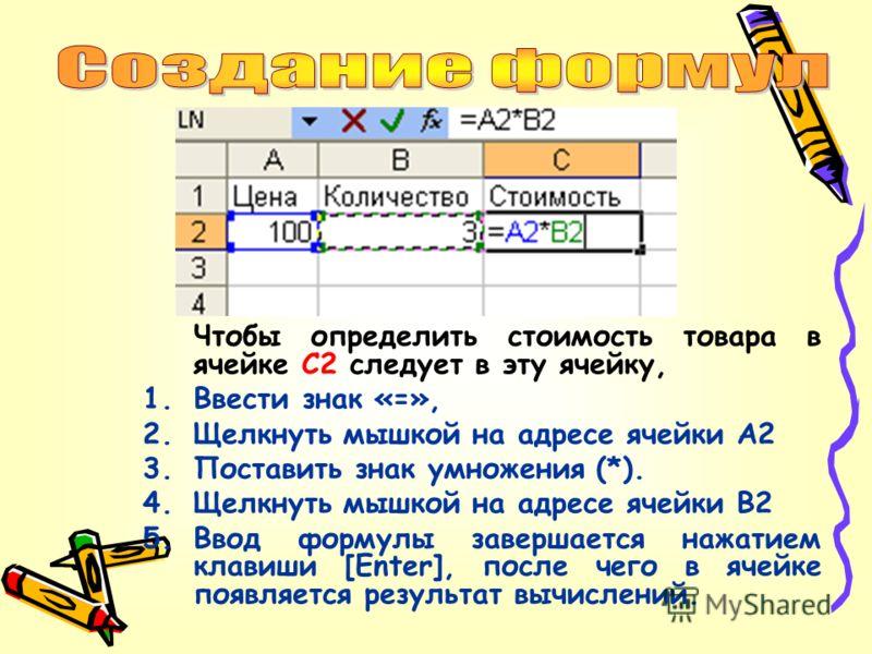 Чтобы определить стоимость товара в ячейке С2 следует в эту ячейку, 1.Ввести знак «=», 2.Щелкнуть мышкой на адресе ячейки A2 3.Поставить знак умножения (*). 4.Щелкнуть мышкой на адресе ячейки В2 5.Ввод формулы завершается нажатием клавиши [Enter], по