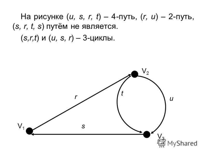 На рисунке (u, s, r, t) – 4-путь, (r, u) – 2-путь, (s, r, t, s) путём не является. (s,r,t) и (u, s, r) – 3-циклы. V1V1 V2V2 V3V3 t r s u