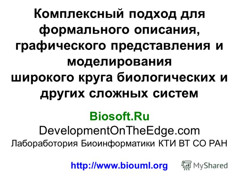 Комплексный подход для формального описания, графического представления и моделирования широкого круга биологических и других сложных систем Biosoft.Ru DevelopmentOnTheEdge.com Лабоработория Биоинформатики КТИ ВТ СО РАН http://www.biouml.org