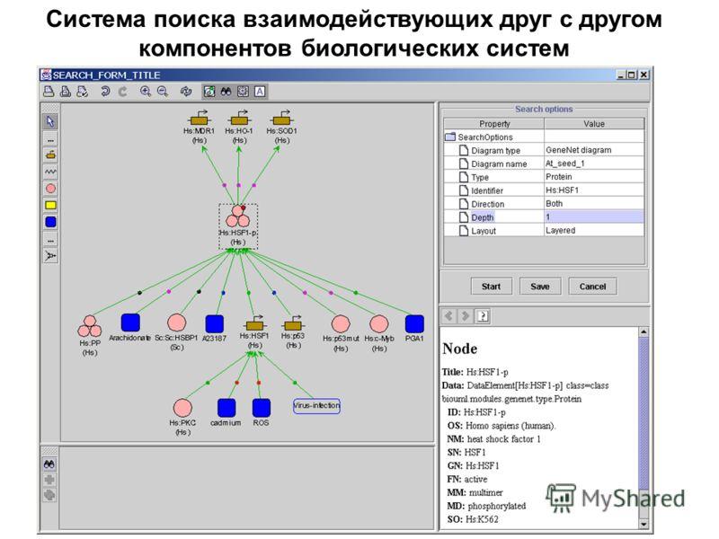 Система поиска взаимодействующих друг с другом компонентов биологических систем