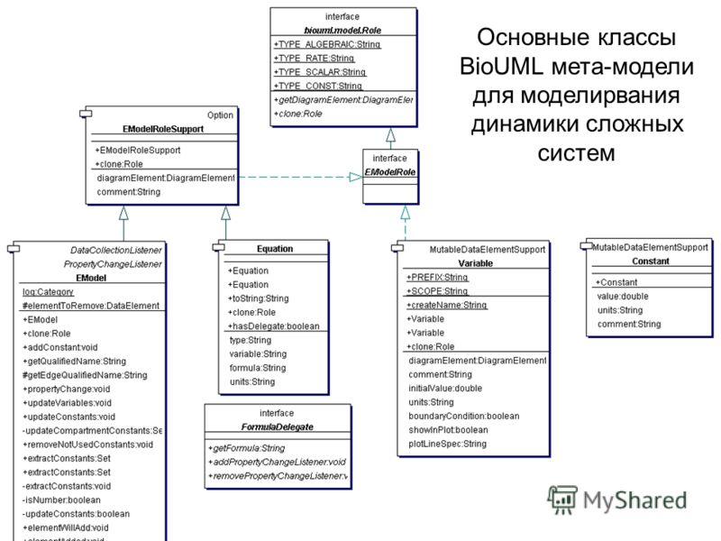 Основные классы BioUML мета-модели для моделирвания динамики сложных систем