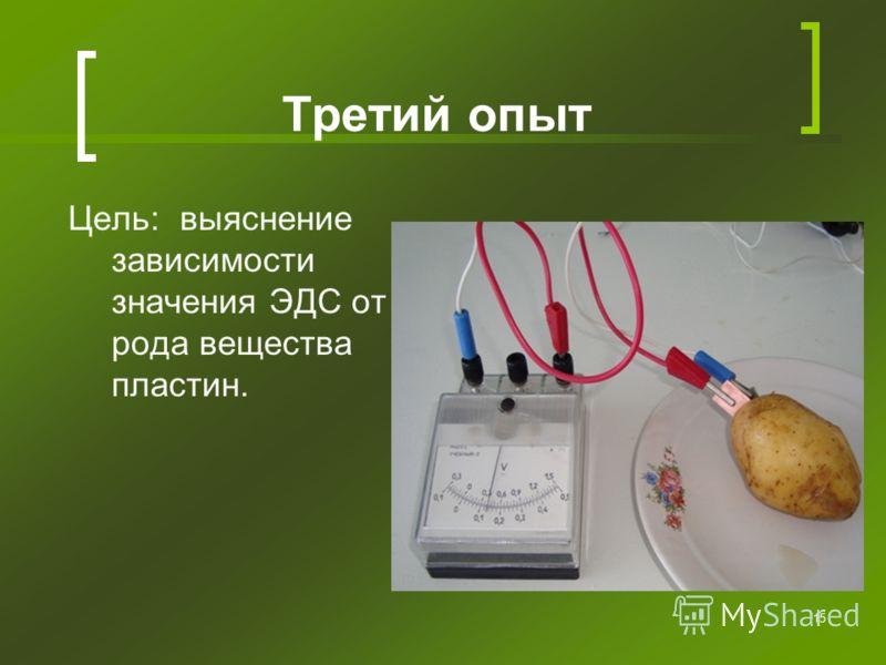 15 Третий опыт Цель: выяснение зависимости значения ЭДС от рода вещества пластин.