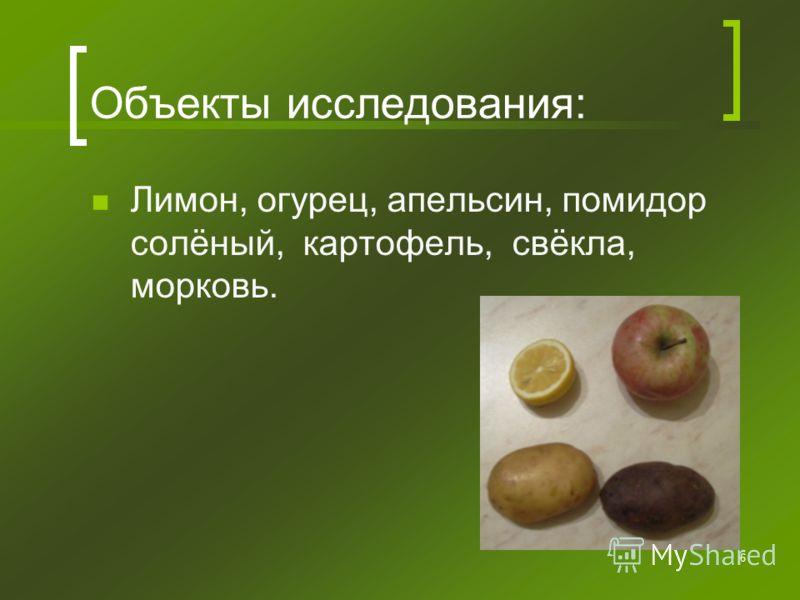 6 Объекты исследования: Лимон, огурец, апельсин, помидор солёный, картофель, свёкла, морковь.