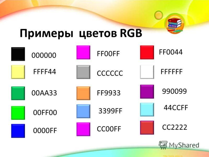Примеры цветов RGB 000000 FFFF44 00AA33 00FF00 0000FF FF00FF CC00FF FF9933 CCCCCC 3399FF FF0044 FFFFFF 990099 CC2222 44CCFF