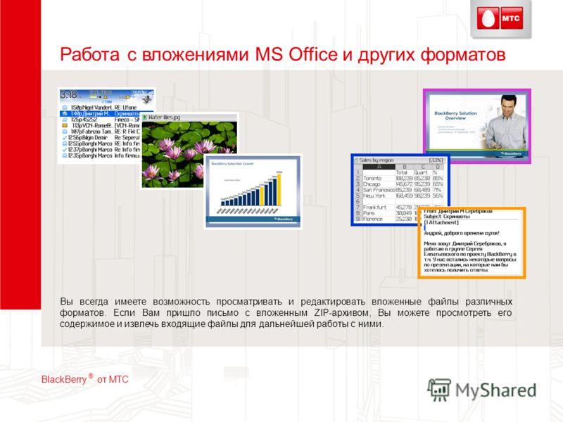 Работа с вложениями MS Office и других форматов Вы всегда имеете возможность просматривать и редактировать вложенные файлы различных форматов. Если Вам пришло письмо с вложенным ZIP-архивом, Вы можете просмотреть его содержимое и извлечь входящие фай