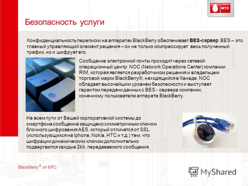 Безопасность услуги На всем пути от Вашей корпоративной системы до смартфона сообщение защищено симметричным ключом блочного шифрования AES, который отличатся от SSL (использующихся на Iphone, Nokia, HTC и т.д.) тем, что шифрации динамическим ключом