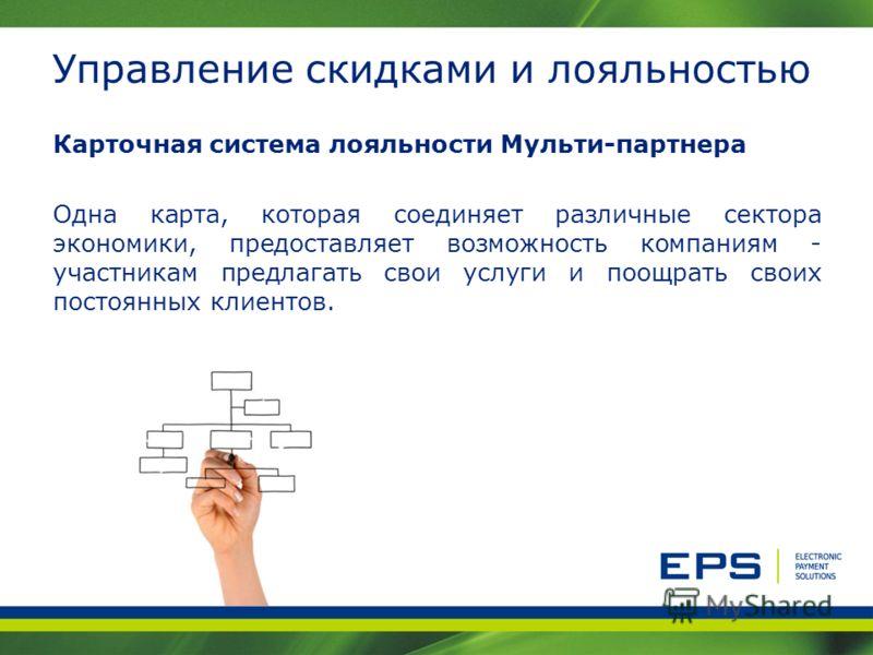 Управление скидками и лояльностью Карточная система лояльности Мульти-партнера Одна карта, которая соединяет различные сектора экономики, предоставляет возможность компаниям - участникам предлагать свои услуги и поощрать своих постоянных клиентов.