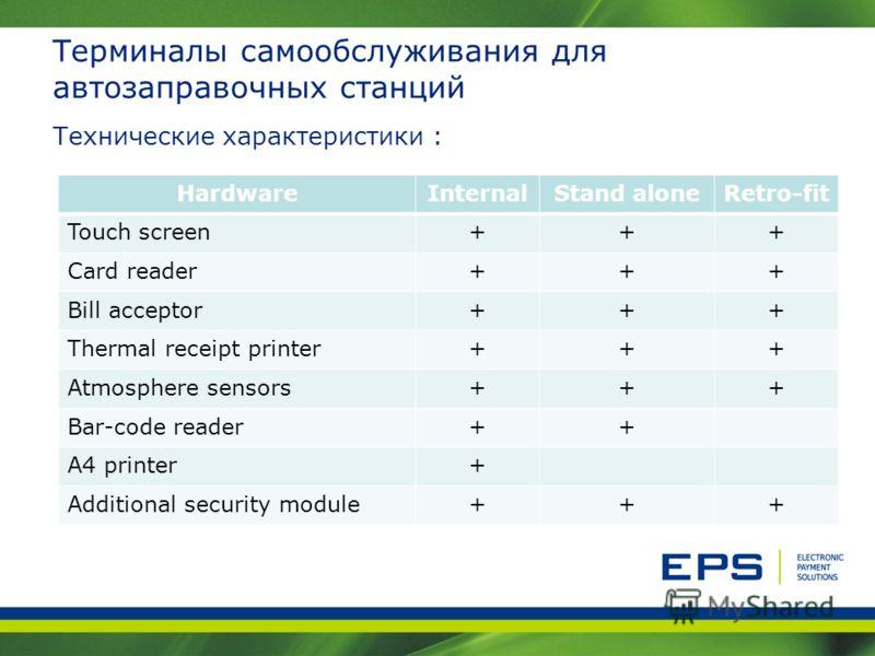 Терминалы самообслуживания для автозаправочных станций Технические характеристики : HardwareInternalStand aloneRetro-fit Touch screen+++ Card reader+++ Bill acceptor+++ Thermal receipt printer+++ Atmosphere sensors+++ Bar-code reader++ A4 printer+ Ad