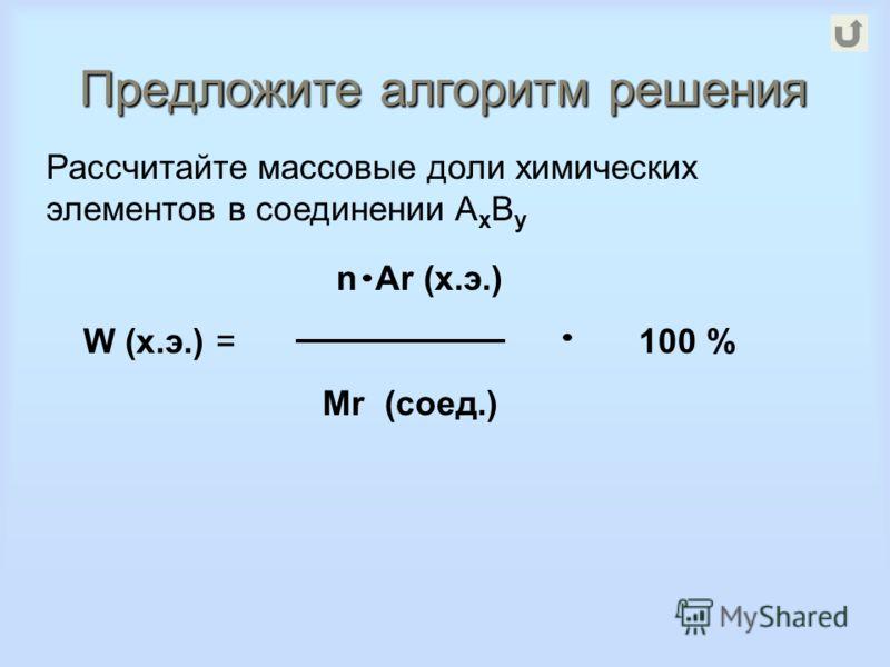 Предложите алгоритм решения Рассчитайте массовые доли химических элементов в соединении A x B y n Ar (х.э.) W (х.э.) = 100 % Mr (соед.)