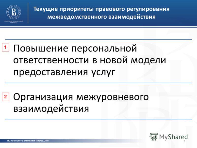 Высшая школа экономики, Москва, 2011 фото 4 Текущие приоритеты правового регулирования межведомственного взаимодействия Повышение персональной ответственности в новой модели предоставления услуг Организация межуровневого взаимодействия 1 2