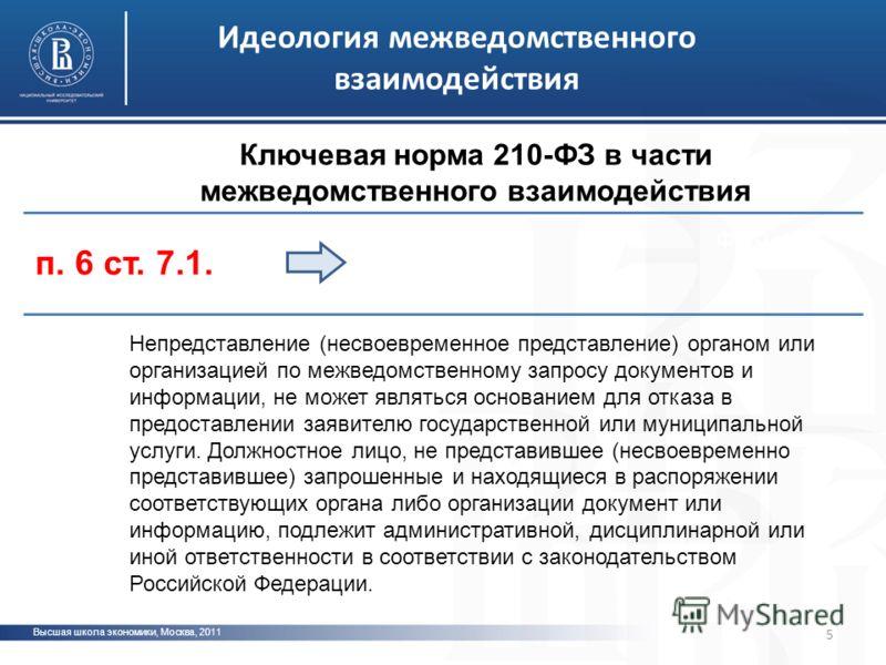 Высшая школа экономики, Москва, 2011 фото Идеология межведомственного взаимодействия 5 Ключевая норма 210-ФЗ в части межведомственного взаимодействия Непредставление (несвоевременное представление) органом или организацией по межведомственному запрос