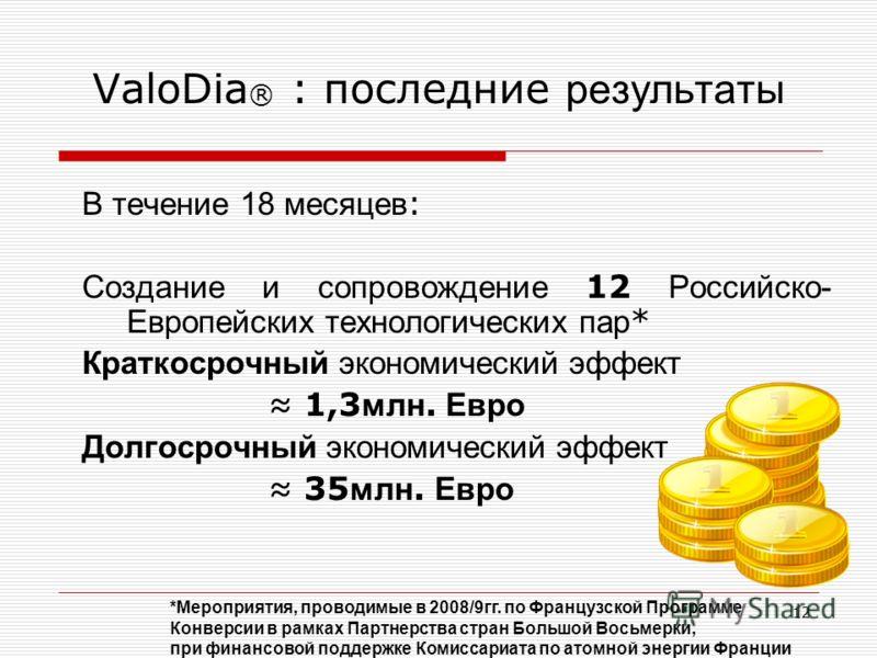 12 ValoDia ® : последние результаты В течение 18 месяцев : Создание и сопровождение 12 Российско- Европейских технологических пар * Краткосрочный экономический эффект 1,3 млн. Евро Долгосрочный экономический эффект 35 млн. Евро *Мероприятия, проводим