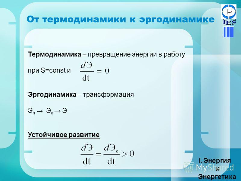 Термодинамика – превращение энергии в работу при S=const и Эргодинамика – трансформация Э п Э к Э Устойчивое развитие От термодинамики к эргодинамике I.Энергия и Энергетика