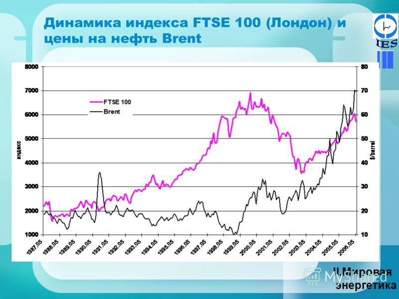 Динамика индекса FTSE 100 (Лондон) и цены на нефть Brent II.Мировая энергетика