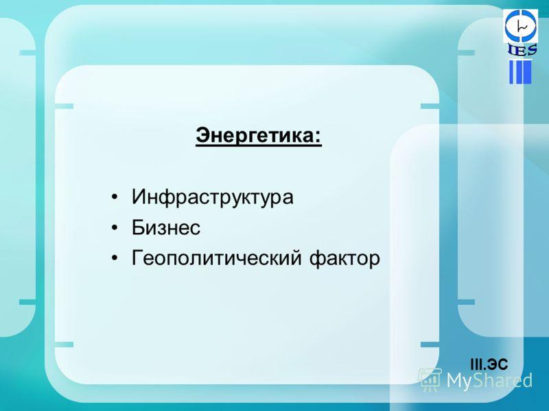 Энергетика: Инфраструктура Бизнес Геополитический фактор III.ЭС