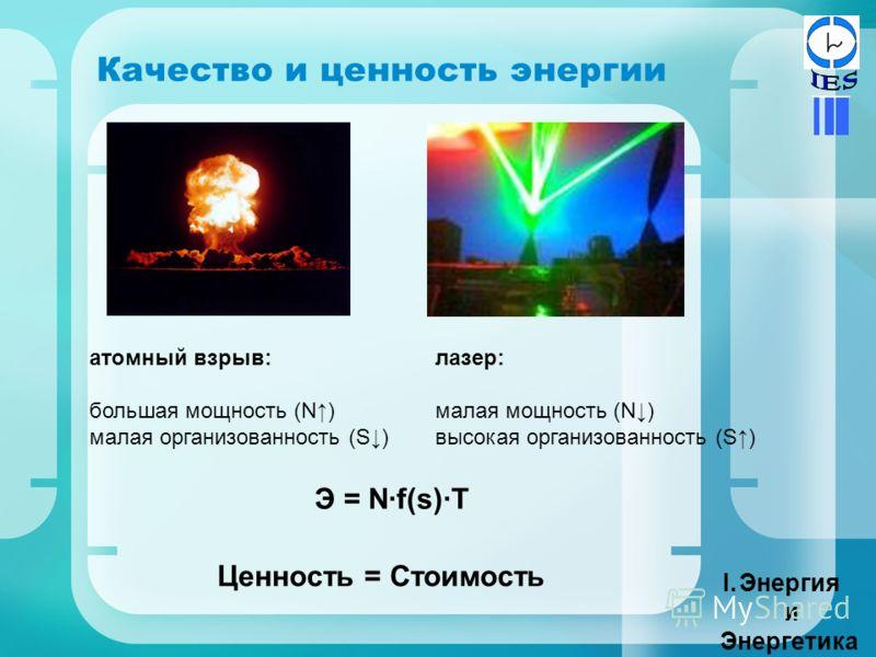 Качество и ценность энергии I.Энергия и Энергетика атомный взрыв: большая мощность (N) малая организованность (S) лазер: малая мощность (N) высокая организованность (S) Э = N·f(s)·T Ценность = Стоимость