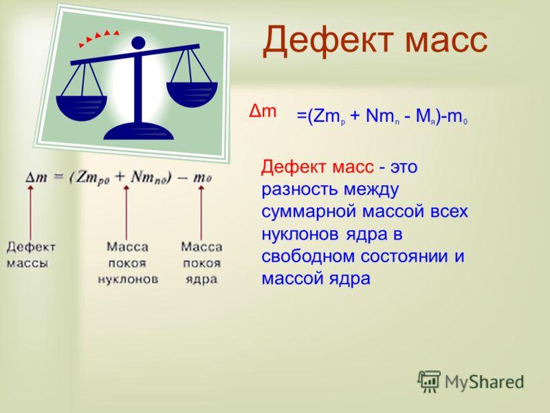 Дефект масс Дефект масс - это разность между суммарной массой всех нуклонов ядра в свободном состоянии и массой ядра =(Zm p + Nm n - M я )-m 0 ΔmΔm