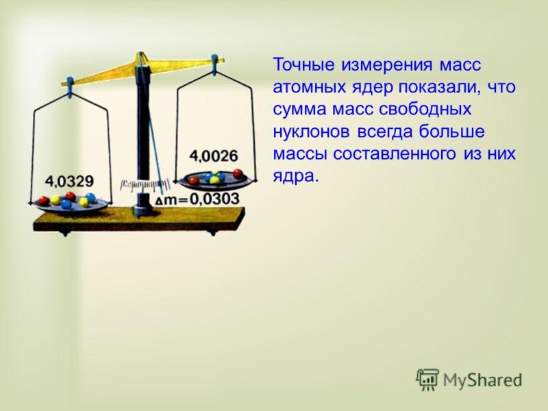 Точные измерения масс атомных ядер показали, что сумма масс свободных нуклонов всегда больше массы составленного из них ядра.