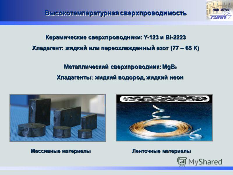 НИИ ИТЭЭ Высокотемпературная сверхпроводимость Ленточные материалы Массивные материалы Керамические сверхпроводники: Y-123 и Bi-2223 Хладагент: жидкий или переохлажденный азот (77 – 65 К) Металлический сверхпроводник: MgB 2 Хладагенты: жидкий водород