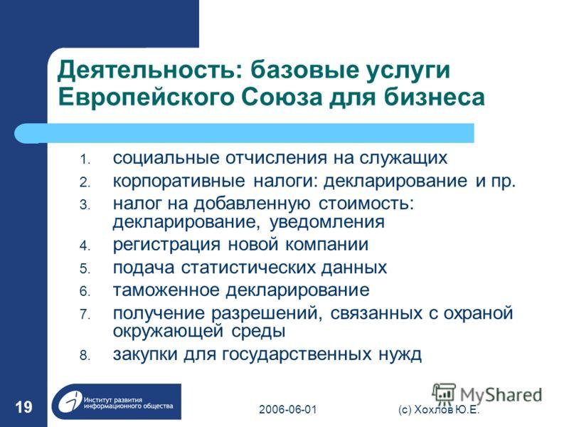 2006-06-01(с) Хохлов Ю.Е. 19 Деятельность: базовые услуги Европейского Союза для бизнеса 1. социальные отчисления на служащих 2. корпоративные налоги: декларирование и пр. 3. налог на добавленную стоимость: декларирование, уведомления 4. регистрация