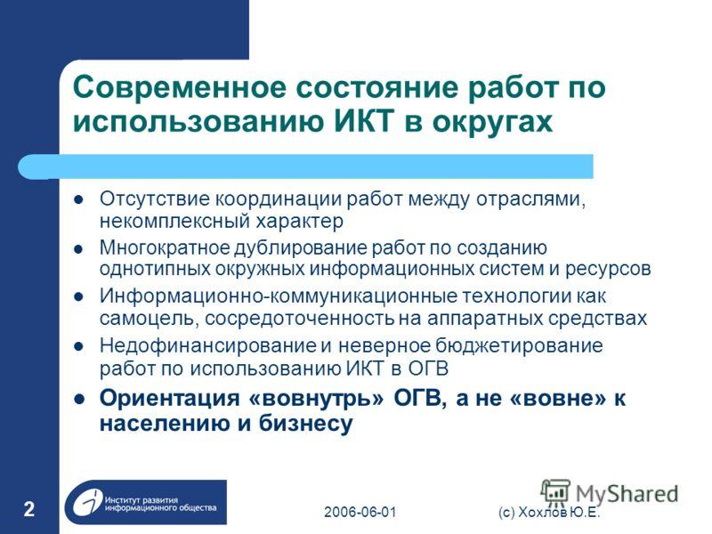 2006-06-01(с) Хохлов Ю.Е. 2 Современное состояние работ по использованию ИКТ в округах Отсутствие координации работ между отраслями, некомплексный характер Многократное дублирование работ по созданию однотипных окружных информационных систем и ресурс