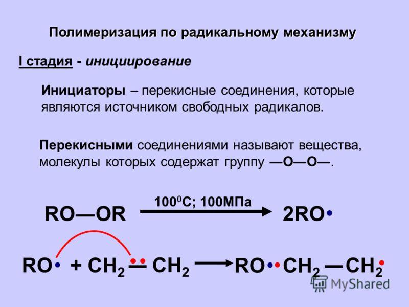 Полимеризация по радикальному механизму I стадия - инициирование Инициаторы – перекисные соединения, которые являются источником свободных радикалов. Перекисными соединениями называют вещества, молекулы которых содержат группу ОО. RООR2RO 100 0 C; 10