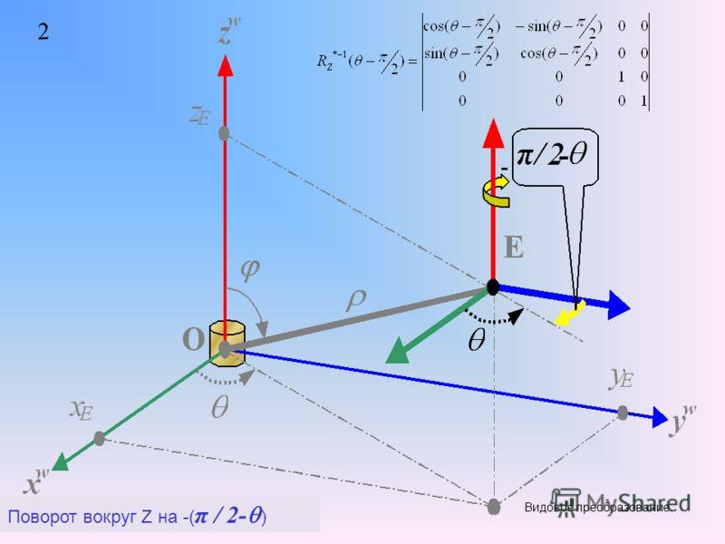 2 Поворот вокруг Z на -( π / 2- )