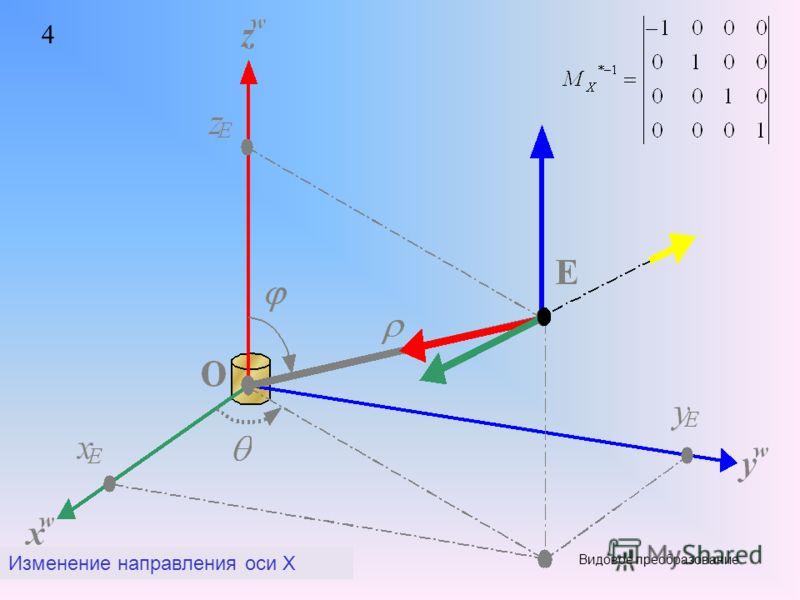 4 Изменение направления оси X