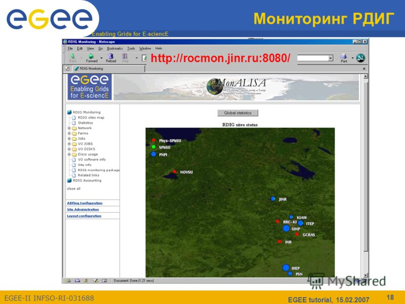 Enabling Grids for E-sciencE EGEE-II INFSO-RI-031688 EGEE tutorial, 15.02.2007 18 Мониторинг РДИГ http://rocmon.jinr.ru:8080/