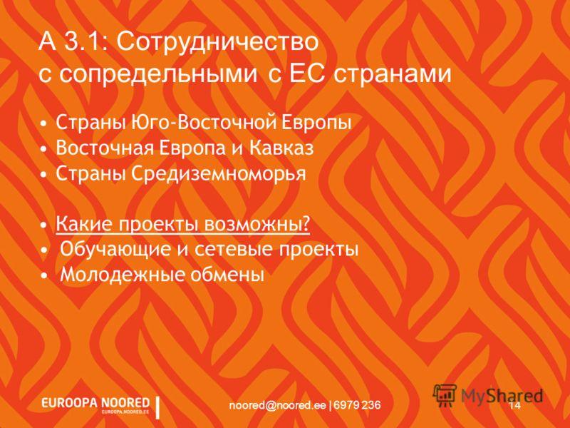 14noored@noored.ee | 6979 236 A 3.1: Сотрудничество с сопредельными с EС странами Страны Юго-Восточной Европы Восточная Европа и Кавказ Страны Средиземноморья Какие проекты возможны? Обучающие и сетевые проекты Молодежные обмены