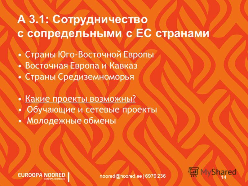 14 noored@noored.ee | 6979 236 A 3.1: Сотрудничество с сопредельными с EС странами Страны Юго-Восточной Европы Восточная Европа и Кавказ Страны Средиземноморья Какие проекты возможны? Обучающие и сетевые проекты Молодежные обмены