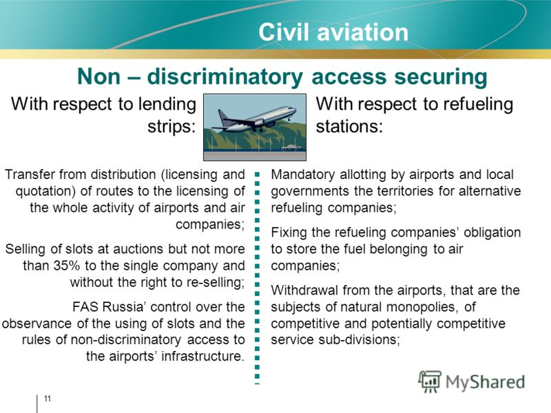 11 Non – discriminatory access securing With respect to lending strips: With respect to refueling stations: Transfer from distribution (licensing and quotation) of routes to the licensing of the whole activity of airports and air companies; Selling o