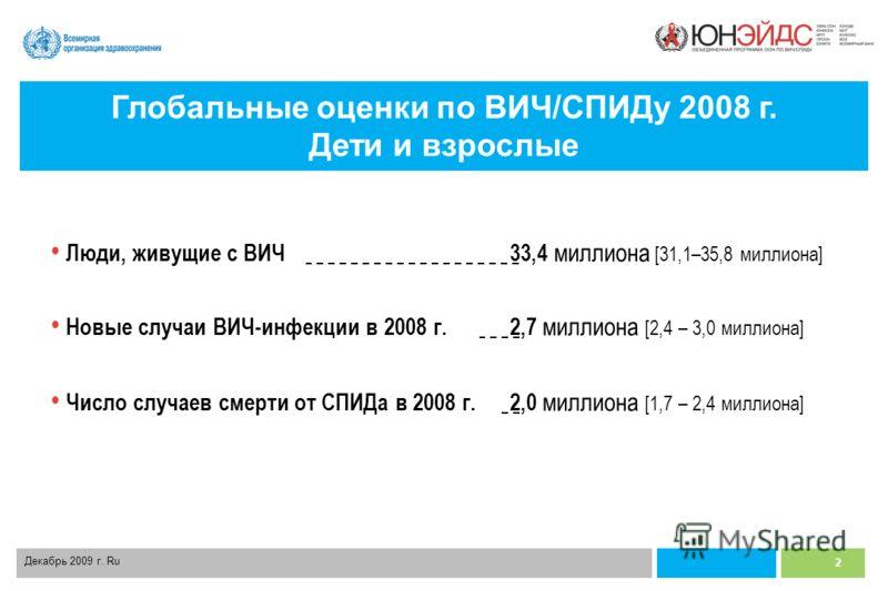 2 Декабрь 2009 г. Ru Люди, живущие с ВИЧ33,4 миллиона [31,1–35,8 миллиона] Новые случаи ВИЧ-инфекции в 2008 г. 2,7 миллиона [2,4 – 3,0 миллиона] Число случаев смерти от СПИДа в 2008 г. 2,0 миллиона [1,7 – 2,4 миллиона] Глобальные оценки по ВИЧ/СПИДу
