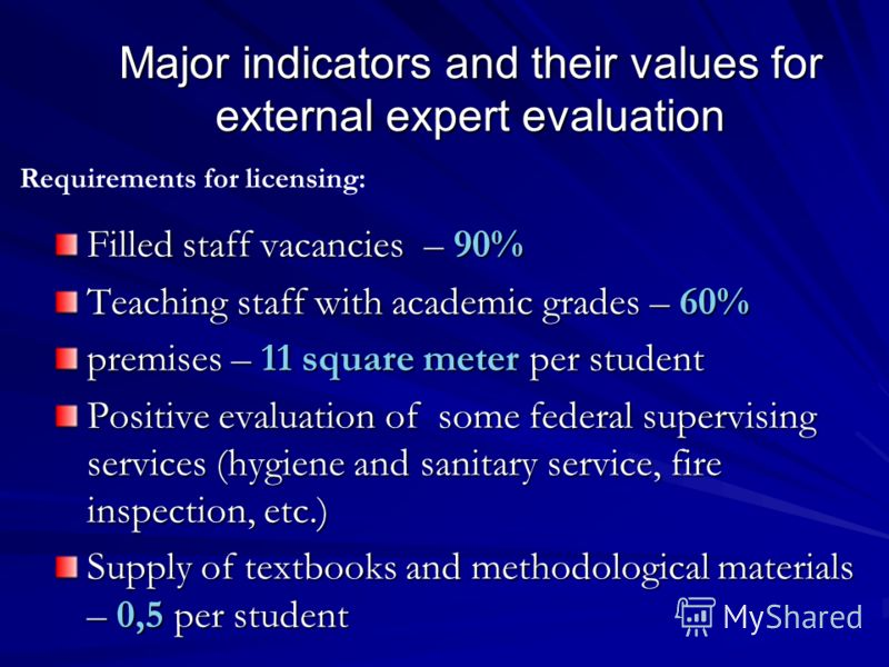 Major indicators and their values for external expert evaluation Filled staff vacancies – 90% Teaching staff with academic grades – 60% premises – 11 square meter per student Positive evaluation of some federal supervising services (hygiene and sanit