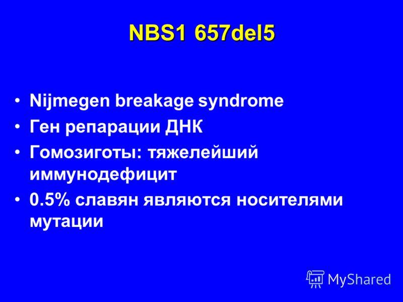 NBS1 657del5 Nijmegen breakage syndrome Ген репарации ДНК Гомозиготы: тяжелейший иммунодефицит 0.5% славян являются носителями мутации