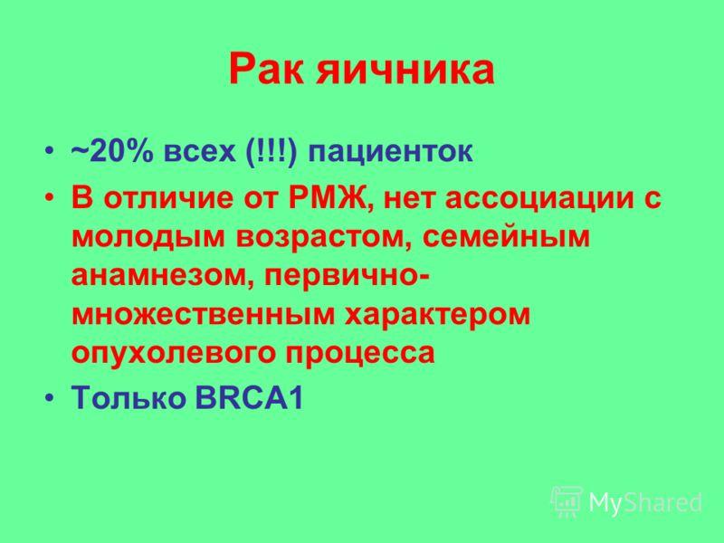 Рак яичника ~20% всех (!!!) пациенток В отличие от РМЖ, нет ассоциации с молодым возрастом, семейным анамнезом, первично- множественным характером опухолевого процесса Только BRCA1