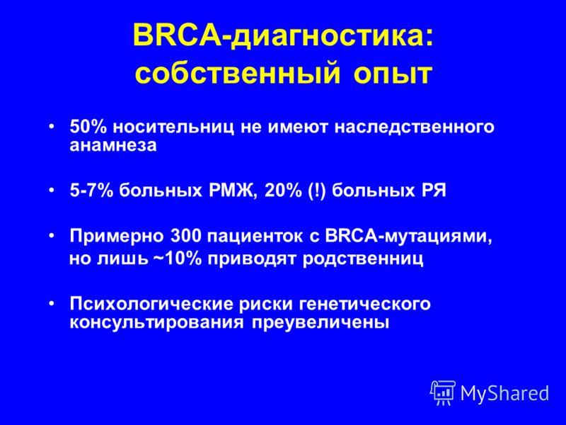 BRCA-диагностика: собственный опыт 50% носительниц не имеют наследственного анамнеза 5-7% больных РМЖ, 20% (!) больных РЯ Примерно 300 пациенток с BRCA-мутациями, но лишь ~10% приводят родственниц Психологические риски генетического консультирования