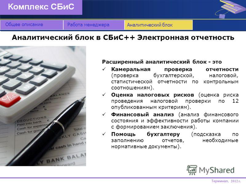 Аналитический блок в СБиС++ Электронная отчетность Общее описание Расширенный аналитический блок - это Камеральная проверка отчетности (проверка бухгалтерской, налоговой, статистической отчетности по контрольным соотношениям). Оценка налоговых рисков