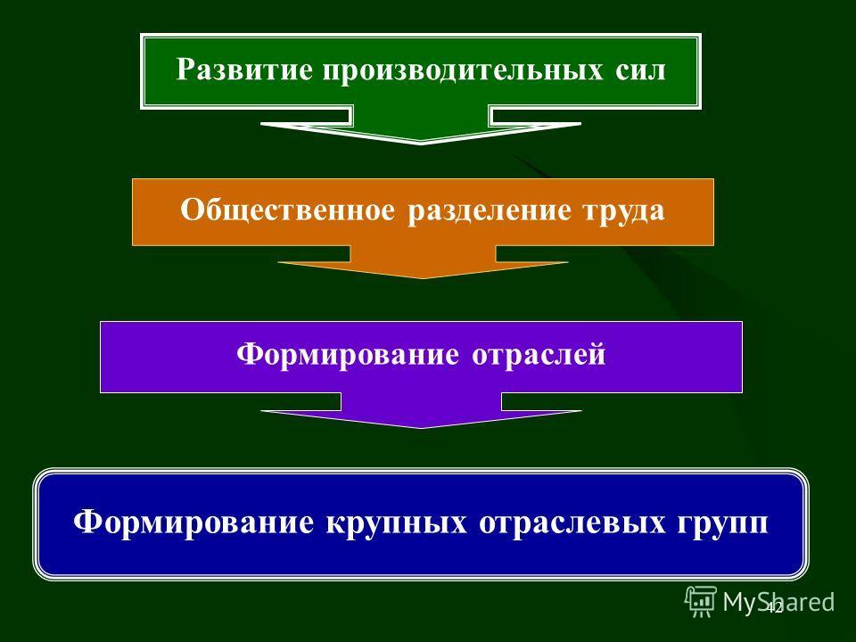 42 Развитие производительных сил Общественное разделение труда Формирование отраслей Формирование крупных отраслевых групп