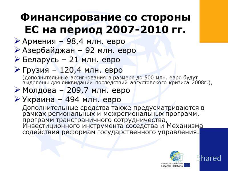 Финансирование со стороны ЕС на период 2007-2010 гг. Армения – 98,4 млн. евро Азербайджан – 92 млн. евро Беларусь – 21 млн. евро Грузия – 120,4 млн. евро (дополнительные ассигнования в размере до 500 млн. евро будут выделены для ликвидации последстви
