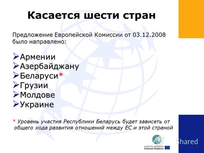 Касается шести стран Предложение Европейской Комиссии от 03.12.2008 было направлено: Армении Армении Азербайджану Азербайджану Беларуси* Беларуси* Грузии Грузии Молдове Молдове Украине Украине * Уровень участия Республики Беларусь будет зависеть от о