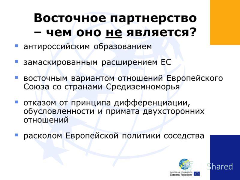 Восточное партнерство – чем оно не является? антироссийским образованием замаскированным расширением ЕС восточным вариантом отношений Европейского Союза со странами Средиземноморья отказом от принципа дифференциации, обусловленности и примата двухсто