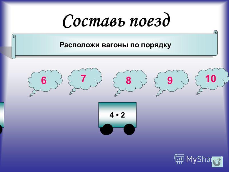 Составь поезд Расположи вагоны по порядку 100 - 9057 - 502 3 6 7 89 10 37 - 284 2